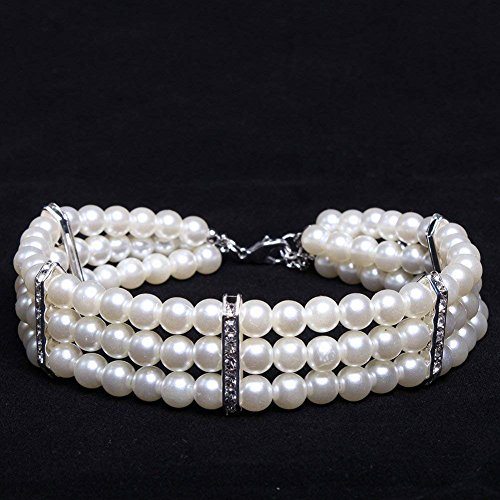 PetFavorites 3 Row White Pearls Diamond Dog Necklace Collar Jewelry with Bling Rhinestones for Pets Cats Small Dogs Girl Teacup Chihuahua Yorkie Clothes Costume Outfits 2