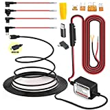 15ft MicroUSB & MiniUSB Dash Cam Hardwire Kit with Mini/LP Mini/ATO/Micro2 Fuse, Micro to Mini (and Type-C) Port Adapters and Battery Drain Protection System