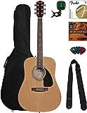 Fender Acoustic Guitar Bundle with Gig Bag, Tuner, Strings, Strap, Picks, Austin Bazaar Instructional DVD, and Polishing Cloth, Natural, Beginner bundle
