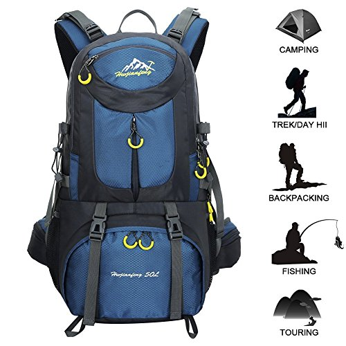Hiking Backpack 50L Internal Frame Backpack, Waterproof Backpacking Outdoor Sport Daypack With a Rain Cover for Climbing Mountaineering Camping Fishing Travel Cycling.(Deep Blue)