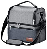 Insulated Lunch Bag, STNTUS Leakproof Cooler Lunch Box with Dual Compartment and Strap, Wide-open Thermal Tote for Adults Women Men Kids, Washable Outdoor Cooling Food Organizer