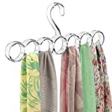 mDesign Plastic Closet Rod Hanging Storage Organizer Rack - Scarf Holder for Bedroom, Coat Closet, Entryway, Mudroom - Holds Scarves, Ties, Shawls, Accessories - Snag Free, 7 Sections - Clear