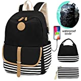 SCIONE School Backpacks for Teen Girls with USB Charging Port and Waterproof Backpack Cover Lightweight Canvas Stripe Backpack Cute Teen Bookpacks Set Bookbags+Insulated Lunch Bag+Pouch 3 in 1