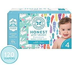 The Honest Company Super Club Box Diapers - Size 4 - Painted Feathers & Bunnies Print | TrueAbsorb Technology | Eco-Friendly with Plant-Derived Materials | Hypoallergenic | 120 Count
