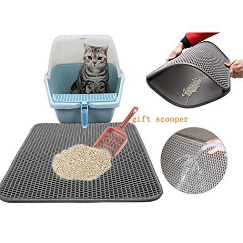 CLORIS-Large-EVA-Cat-Litter-Mat-28-in-Litter-Trapping-Mat-Litter-Locker-cat-mat-Cat-Litter-Box-Mat-Scatter-ControlDual-Layer-Honeycomb-Design-Washable-Waterproof-cat-Litter-mat-with-Scooper