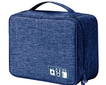 House of Quirk Electronics Accessories Organizer Bag, Universal Carry Travel Gadget Bag for Cables, Plug and More, Perfect Size Fits for Pad Phone Charger Hard Disk – Dark Blue
