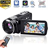 Video Camera Camcorders, GOXMGO Remote Control Handheld Digital Camera with IR Night Vision, HD 1080P 24.0MP 16X Digital Zoom(2 Batteries)