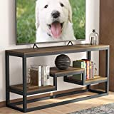 LITTLE TREE TV Stand, IndustrialRusticMedia Stand for 60' TV, Large 3-Tier Entertainment Center with Shelves, Media Console Table for Living Room, Brown 59' (Dark Walnut)