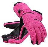 Andorra Women Thinsulate Insulated Waterproof Zipper Pocket Ski Gloves, Pink, M