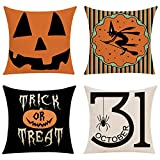 Halloween Theme Pillow Covers, Witch and Pumpkin Throw Pillow Case, Decorative Cushion Cover for Bedroom Sofa Chair Car, 18' x 18' Set of 4