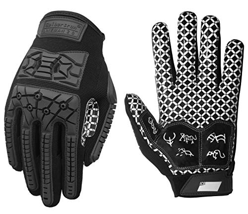 Seibertron Lineman 2.0 Padded Palm Football Receiver Gloves, Flexible TPR Impact Protection Back of Hand Glove Adult Sizes Black XL