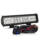 LED Light Bar TURBO SII 12 Inch 72W LED Work Light LED Lights Led Bar Driving Fog Lights W/Wiring Harness Kit Fit Jeep ATV Trucks Off Road Lights Boat Lighting