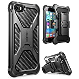 iPhone 5/5s/SE Case, i-Blason Prime [Kickstand] Heavy Duty [Dual Layer] Combo Holster Cover case with [Locking Belt Swivel Clip] for Apple iPhone SE 2016 Release (Black)