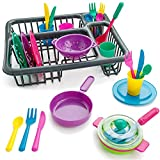 Liberty Imports Kids Pretend Play Dishes Kitchen Playset - Wash and Dry Tableware Dish Rack Toy with Drainer (28 Pieces) (Classic)