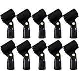 GLS Audio Mic Clip - Heavy Duty Microphone Clips - 'U' Style Mike Clip - Fits all standard size Mics - 10 PACK