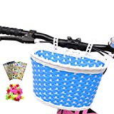 Kid's Bike Basket, Front Handlebar Boy's Bicycle Basket with 3 Pcs Alphabet Flower Animal Stickers, 36 Pcs Bike Wheel Spokes for Kids Chirlden Gift DIY Sets - Blue
