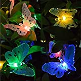 VECDUO 20 LED Butterfly Fairy String Lights, Solar Powered Indoor Outdoor Garden Lamp for Patio Halloween Thanksgiving Christmas Party Wedding Decor