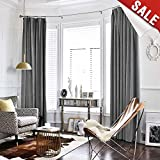 Velvet Curtain Grey Living Room Rod Pocket Window Curtain Panel 84 inch Long Bedroom Thermal Drapes