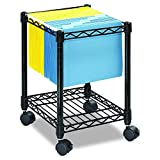 Safco Products Compact  Mobile Letter Size File Cart 5277BL Black, Black Powder Coat Finish, Swivel Wheels for Mobility