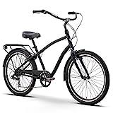 sixthreezero EVRYjourney Men's 7-Speed Hybrid Cruiser Bicycle, Matte Black w/Black Seat/Grips, 26' Wheels/19 Frame