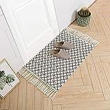 Cotton Woven Tassels Rug | Geometric Diamond Tribal Chindi Throw Rug | Reversible Boho Laundry Rug | 2'x3' Small Rug for Bedroom Bathroom Entryway | Black and White