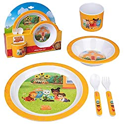 The Daniel Tiger's Neighborhood Yellow Kids Plates Mealtime Set will be your go-to set for dishes and dinnerware for every meal. Kids and toddlers will look forward to eating meals and being able to use their own flatware. This 5 piece feeding set in...