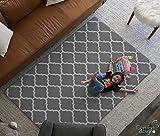 Premium Stylish Foam Floor Mat | Cushy-Soft & Thick | Waterproof, Easy-to-Clean, Hypoallergenic, Non-Toxic, Pet-Friendly, Portable | Baby Play Mat, Yoga Mat, Exercise Mat - Large Grey Modern Lattice