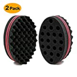 BEWAVE Big Holes Barber Hair Brush Sponge Dreads Locking Twist Afro Curl Coil Wave Hair Care Tool (2 Pcs)