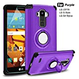 LG G Stylo Case - Atump 360 Degree Rotating Ring Holder Kickstand Case with HD Screen Protector and Kickstand Shock Absorption Cases for LG G Stylus LS770 Purple