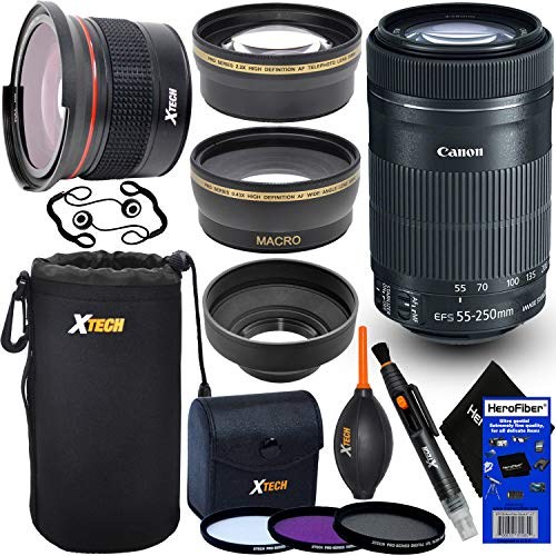 Canon-EF-S-55-250mm-F4-56-is-STM-Lens-for-Canon-SLR-Cameras-International-Version-Fisheye-Lens-Telephoto-Wide-Angle-Lenses-3pc-Filter-7pc-Accessory-Kit-wHeroFiber-Cleaning-Cloth
