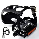 NAMUCUO Bike Pedals with Toe Clip and Straps, for Exercise Bike, Spin Bike and Outdoor Bicycles, 9/16-Inch Spindle Resin/Alloy Bicycle Pedals, Half Year Warranty