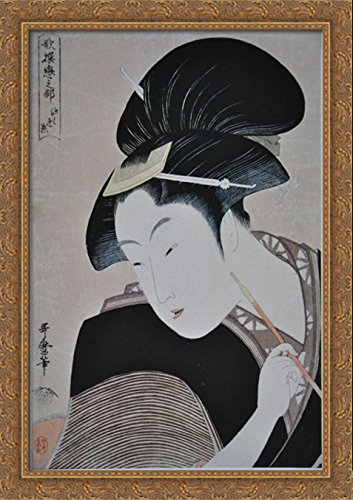 Secret Love 28x40 Large Gold Ornate Wood Framed Canvas Art by Kitagawa Utamaro
