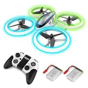 Q9 Drones for Kids,RC Drone with Altitude Hold and Headless Mode,Quadcopter with Blue & Green Lights,Propellers Full Protect and Double Batteries,Easy to fly Gift Toy for Boys and Girls 51JvcoouJnL