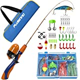 PLUSINNO Kids Fishing Pole,Portable Telescopic Fishing Rod and Reel Full Kits, Spincast Fishing Pole for Kids, Boy, Youth (Orange Handle with Bag, 150CM 59.05IN)
