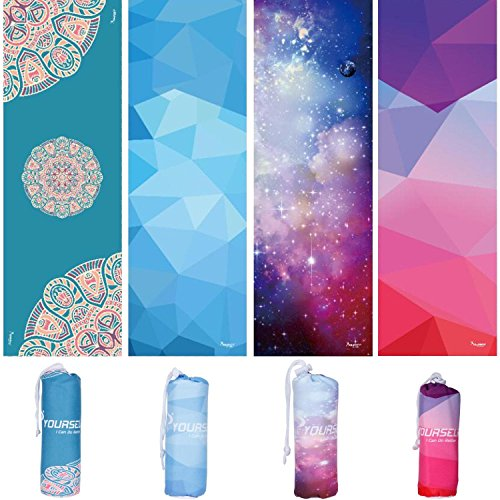SYOURSELF Yoga Towel-72 x24 - Non Slip,Ultra Absorbent,Soft-Perfect Microfiber Hot/Skidless/Bikram Yoga Towel for Fitness, Exercise,Sports& Outdoors +Travel Bag(Yoga Towel: Starry Sky, L:72'x24')