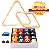 BETTERLINE Billiard Balls Set, Pool Table Triangle Ball Rack and 9-Ball Diamond Rack (Wood), 5 Cue Chalks and 2 Table Spot Stickers - Pool Table Accessories