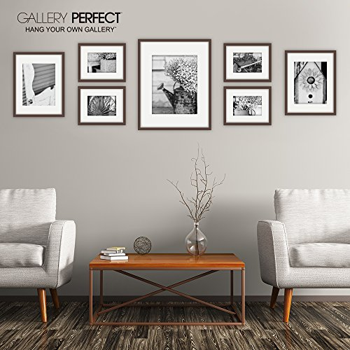 Gallery Perfect 7 Piece Walnut Photo Frame Wall Gallery Kit ...