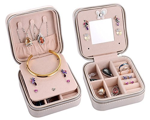 Csinos Portable Jewelry Case Travel Earring Ring Necklace Accesories Organizer Box with Zipper (Silver)