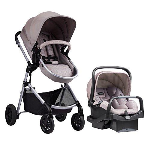 Evenflo Pivot Modular Travel System, Lightweight Baby Stroller, Sleek & Versatile, Easy Infant Car Seat Transfer, Oversized Storage Basket, Blanket Boot, Travel Stroller, 3-Panel Canopy, Sandstone Tan