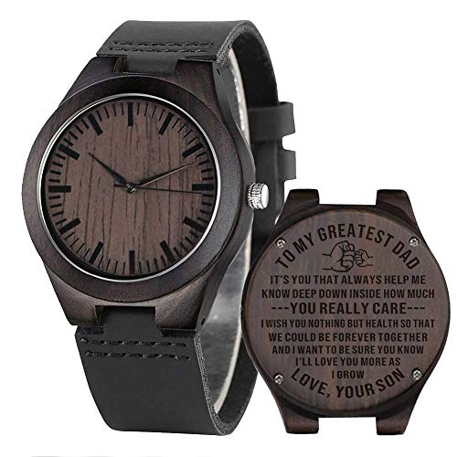 Gift to Dad from Son Wooden Watch Engraved Gift from Son to Father Wood Gift Ideas Birthday Gift for Father - Ebony Black