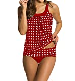 Eternatastic Women's Retro Polka Dot Tankini Swimwear With Panty Swimsuit Red XXL