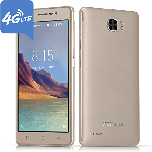 Xgody X17 Pro 4G FDD-LTE Unlocked Cell Phones 5.0 Inch 1280 x 720 HD Screen 16GB+1GB Quad Core Android 7.0 Dual SIM Dual Camera 8MP with Wi-Fi GPS Bluetooth Telefonos Desbloqueados Gold
