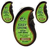 GRIFFIN Easy Shine Shoe Polish (3 Pack) - Instant Shoe Shine Sponge (Brown)