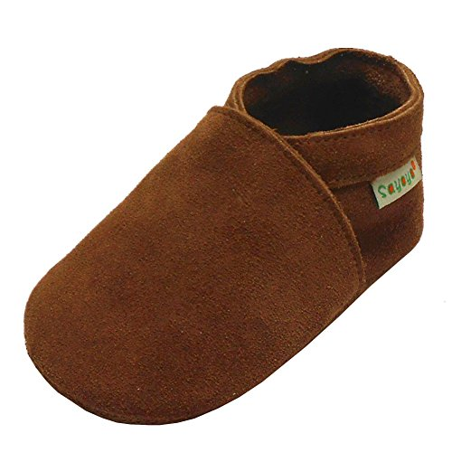 Sayoyo Lowest Best Baby Soft Sole Prewalkers Baby Toddler Shoes Cattle Cashmere Shoes(Brown,12-18 Months)