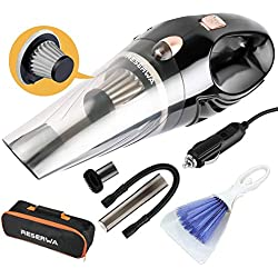 Reserwa [5th Gen] Car Vacuum 12V 106W Car Vacuum Cleaner 4500PA Much Stronger Suction Potable Handheld Auto Vacuum Cleaner with 16.4FT(5M) Power Cord, Carrying Bag, Cleaning Brush (Black)