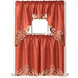 GOHD Golden Ocean Home Decor Passionate Bloom Kitchen Curtain Set Swag Valance and Tier Set. Nice Embroidery on Faux Silk Fabric with cutworks. (Rust)