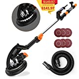 TACKLIFE Dustless Drywall Sander, 9-Inch 6A/1800Rpm Electric Drywall Sander with LED Light, Variable Speed, 6Pcs Sandpapers, 13ft Dust Hose, Extensible Handle, 15ft Power Cord - PDS01A