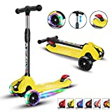 XJD Scooters for Kids Toddler Scooters Adjustable Height Extra-Wide 3 Wheels Boys Girls 100% Assembled Light Up Wheels Children from 2 to 14 Year-Old (Yellow)