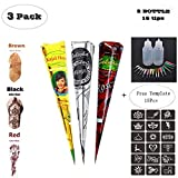 Temporary Tattoo Stencils Kits/Temporary Brown Red Tattoo Paste Cones for Body Art Drawing Painting with 2 x Applicator Bottle,16 x Needles and 18 x Adhesive Stencil Set