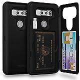 TORU CX PRO LG V30 Wallet Case with Hidden ID Slot Credit Card Holder Hard Cover, Mirror & USB Adapter for LG V30 / LG V30 Plus - Matte Black